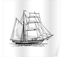 Brigantine Sailing Ship Poster
