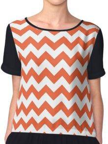 Orange retro Chevron pattern Chiffon Top