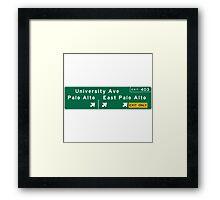 Palo Alto, Road Sign, California Framed Print