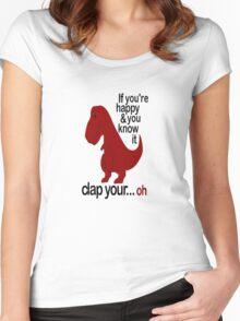 T-Rex Hates To Clap Women's Fitted Scoop T-Shirt