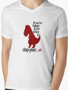 T-Rex Hates To Clap Mens V-Neck T-Shirt