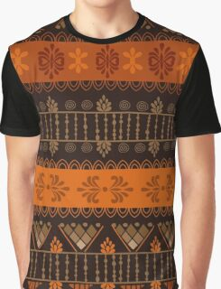 Orange & Black Boho Geometric Pattern Graphic T-Shirt