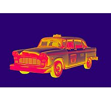 Checkered Taxi Cab Pop Art Photographic Print