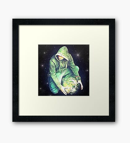 World in the palm of your hand Framed Print