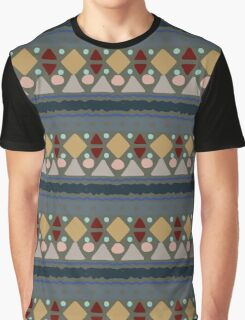 Blue & Grey Boho Geometric Pattern Graphic T-Shirt