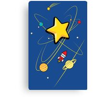Star, planets and a red rocket Canvas Print