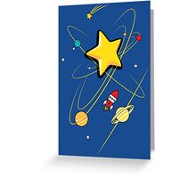 Star, planets and a red rocket Greeting Card