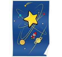 Star, planets and a red rocket Poster