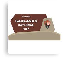 Badlands National Park Sign, South Dakota, USA Canvas Print