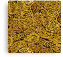 Gold Watercolor Paisley Pattern Canvas Print