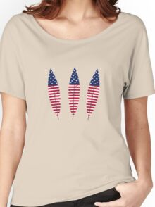 Stars and Stripes Feathers Women's Relaxed Fit T-Shirt