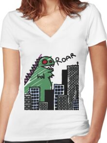 Derpasaur Attack! Women's Fitted V-Neck T-Shirt