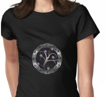 Silver Celt Tree with Purple Blossoming Flowers Womens Fitted T-Shirt