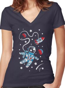 Space Walk Women's Fitted V-Neck T-Shirt