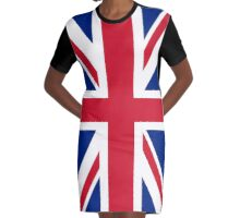 UK Union Jack ensign flag - Authentic version (Duvet, Print on Red background)  Graphic T-Shirt Dress