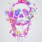 Cool & Trendy Pink Watercolor Skull by badbugs
