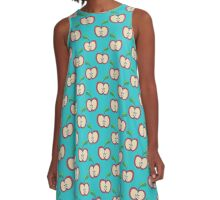 Blue Apple Pattern A-Line Dress