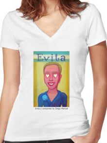 Evita y corazones by Diego Manuel Women's Fitted V-Neck T-Shirt