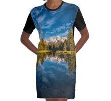 Teton Mountains,Swabachers Landing,Reflection Graphic T-Shirt Dress