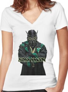 Super Dragon Women's Fitted V-Neck T-Shirt