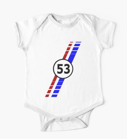 VW 53, the Love Bug's racing stripes and number 53 One Piece - Short Sleeve