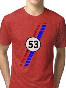 VW 53, Herbie the Love Bug's racing stripes and number 53 Tri-blend T-Shirt