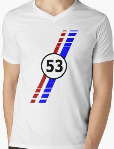 VW 53, Herbie the Love Bug's racing stripes and number 53 Mens V-Neck T-Shirt