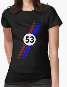 VW 53, Herbie the Love Bug's racing stripes and number 53 Womens Fitted T-Shirt