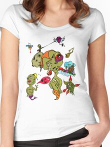 Psychedelic Crazy Monster People Art Women's Fitted Scoop T-Shirt