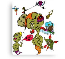 Psychedelic Crazy Monster People Art Canvas Print