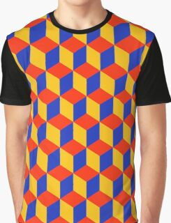 Block Pattern - Red, Amber and Blue Graphic T-Shirt