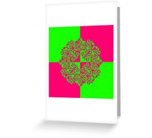 Bright Checkered Floral Pattern Greeting Card