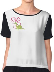 Dinamic Girls Collection - Green Dinosaur Girl with Flower Chiffon Top