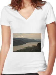 Early Morning At Chanticleer Point ©  Women's Fitted V-Neck T-Shirt