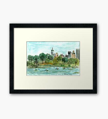 The Lake at Central Park Framed Print