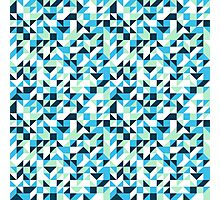 Small mosaic pattern in blue Photographic Print
