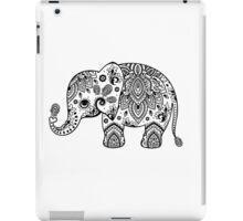 Cute Elephant Illustration Black Floral Paisley  iPad Case/Skin