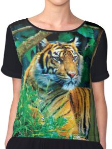 Tiger Photo Chiffon Top