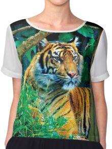 Tiger Photo Chiffon Top