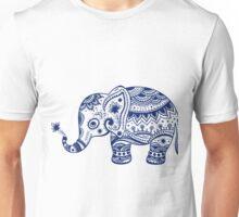 Royal Blue Cute Elephant Tribal Floral Design Unisex T-Shirt