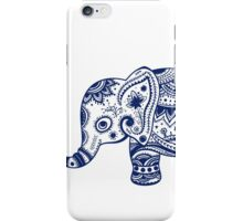Royal Blue Cute Elephant Tribal Floral Design iPhone Case/Skin