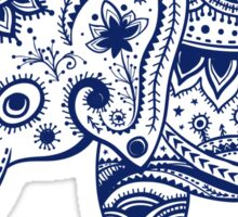 Royal Blue Cute Elephant Tribal Floral Design Sticker