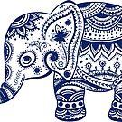 Royal Blue Cute Elephant Tribal Floral Design by artonwear