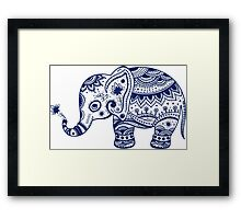 Royal Blue Cute Elephant Tribal Floral Design Framed Print