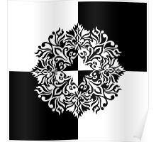 Black &White Checkered Floral Pattern Poster