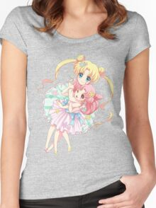 Sailor Moon-Sailor Moon and Sailor Chibi Moon Women's Fitted Scoop T-Shirt