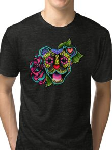 Smiling Pit Bull in Brindle - Day of the Dead Happy Pitbull - Sugar Skull Dog Tri-blend T-Shirt