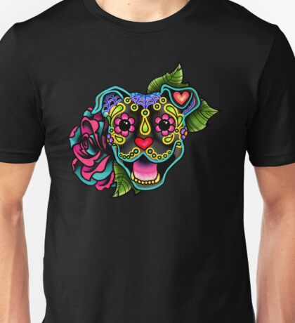 Smiling Pit Bull in Brindle - Day of the Dead Happy Pitbull - Sugar Skull Dog Unisex T-Shirt