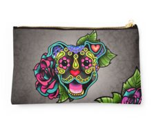 Smiling Pit Bull in Brindle - Day of the Dead Happy Pitbull - Sugar Skull Dog Studio Pouch