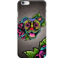 Smiling Pit Bull in Brindle - Day of the Dead Happy Pitbull - Sugar Skull Dog iPhone Case/Skin